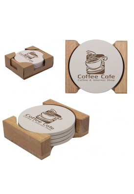 Wooden Gift Boxed Set of 4 Stone Round Coaster