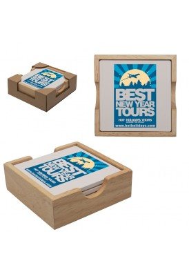 Wooden Gift Boxed Set of 4 Stone Square Coaster