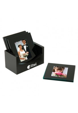6 Piece Photo Coaster Gift Set in Black Holder III