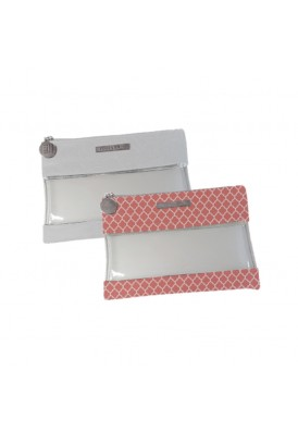 Leatherette and Clear Vinyl Flat Pouch with Zipper Puller