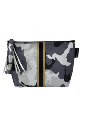 Modern Gray Black Camo Pouch and Cosmetics Case