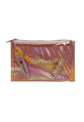 Rose Gold Zippered Cosmetics Pouch with Clear Front