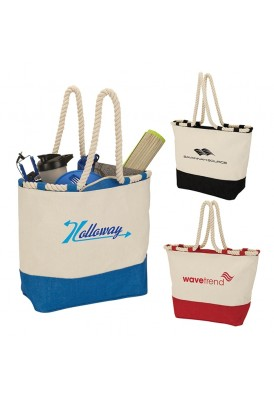 Two-Tone Canvas and Jute Designer Rope Tote
