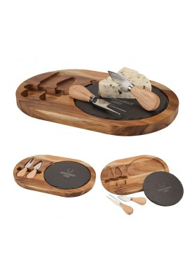 Cheese Board with Round Slate and Cheese Knives