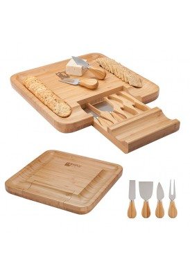 Georgio Bamboo Cheese Board with Pull-Out 4-Piece Knives Set