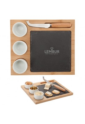 Cheese Board with Slate and Porcelain Ceramic Cups