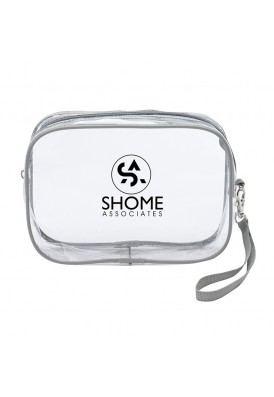 Clear Zippered Wristlet Strappy Pouch