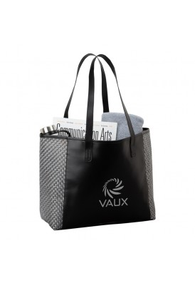 Chic Weave Pattern Accented Shoulder Fashion Tote Bag
