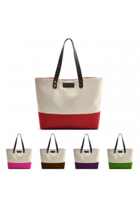 Kristal 16 Oz Cotton Canvas Two-Tone Tote