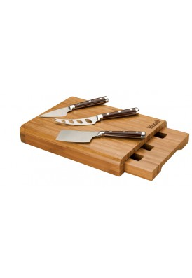 Portable Bamboo 4 Piece Cheese Set