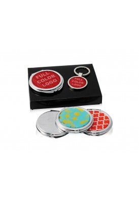 Compact Mirror and Key Chain Gift Boxed with Tray
