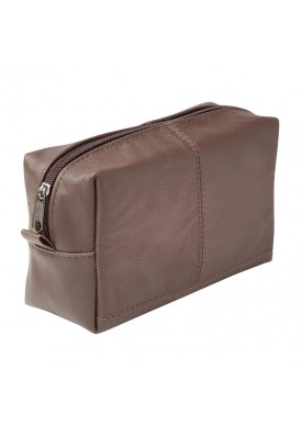brown leather custom dopp kit case