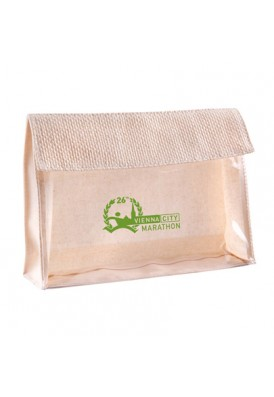 Natural Canvas with Clear Vinyl Front Panel Travel Pouch