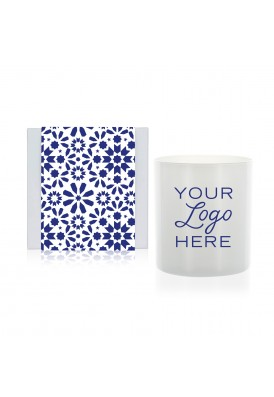 11 Oz Moroccan Tile Designer Candle Gift with White Glass - QHE (Quality High End)