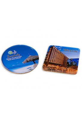 Full Color Imprinted Acrylic Coasters Vinyl Back