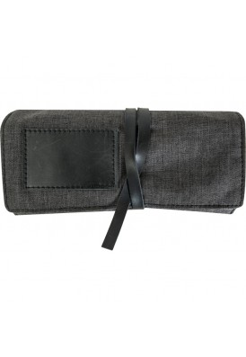 Two-Tone Leather and Fabric Jewelry Roll