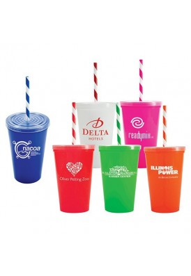 Colorful 20 Oz. Stadium Cup with Swirl Straws