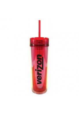 Slender 16 Oz. Colorful Acrylic Tumbler with Straw