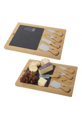 Bamboo 5 Piece Cheese Board Set with Slate Cutting Board