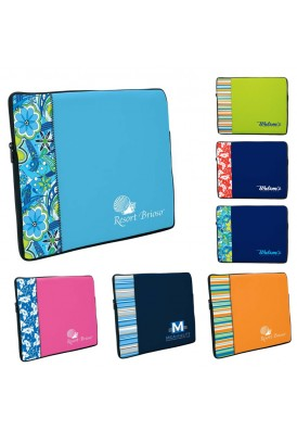 Two-Tone Neoprene Laptop Sleeve with Pattern Accent Medium
