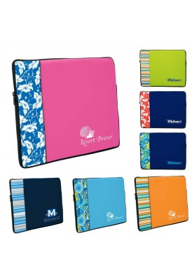 Two-Tone Neoprene Laptop Sleeve with Pattern Accent Large