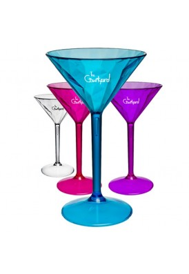 Crystal Textured Party-On Colored Martini Glasses