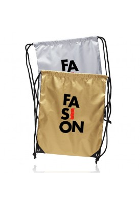 Shiny Gold or Silver Drawstring Backpack with Metal Eyelets