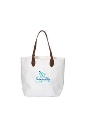 Heavy 16 Oz Laminated Cotton Canvas Tote with Leatherette Handles