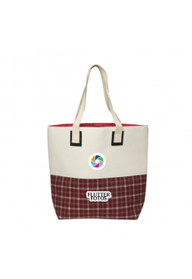 Cami Linen Tote Bag with Plaid Bottom Design