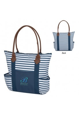 Top Zippered Stripes PolyCanvas Tote with Pocket and Leatherette Handles