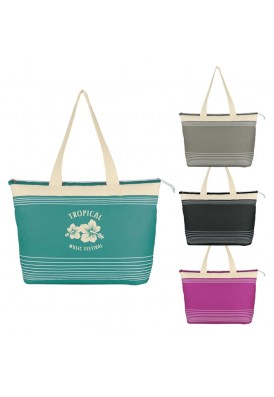 Zippered Shoulder Tote with Stripes and Attractive Colors