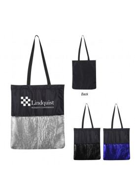 Reversible Flip Sequin Shoulder Tote Bag