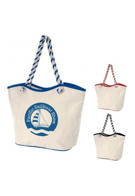 Beach Nautical Designer 8 Oz Laminated Cotton Canvas Rope Tote