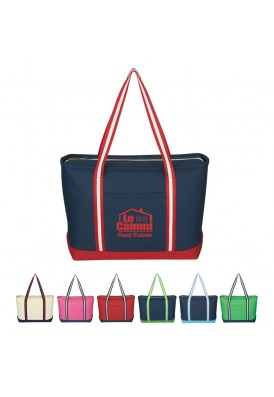 Heavy Weight Zippered Tote with Stripe Straps