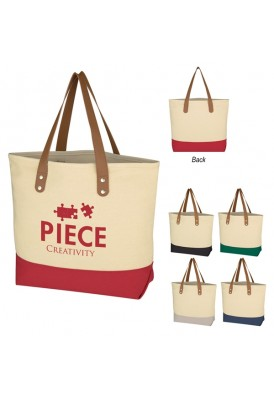 12 Oz Two-Tone Canvas and Leatherette Handle Tote Bag