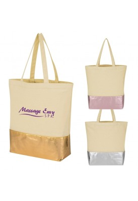 Quality 12 Oz Canvas Tote Bag with Metallic Gold or Silver Base