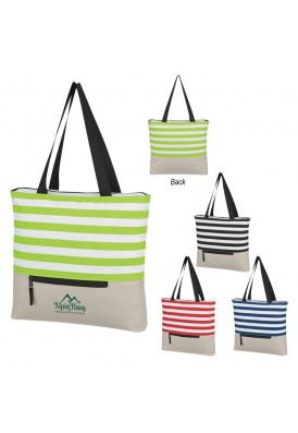 Top Panel Stripes Shoulder Tote Bag