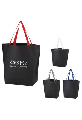 Polypro Non-Woven Expo Black Tote with Colored Straps