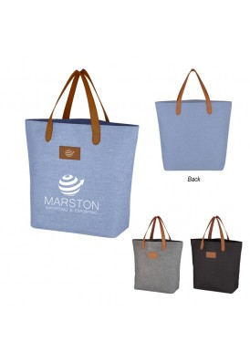 Heathered Large Open Tote with Leatherette Handles