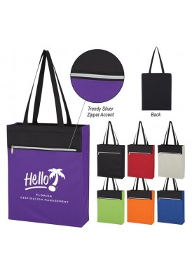 PolyCanvas Black or Two-Tone Shoulder Tote Bag with Zipper