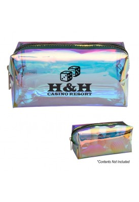 Iridescent Holographic Zippered Travel Dopp Kit Case