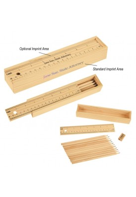 Ruler Wooden Box of 12 Colored Pencils Gift Set