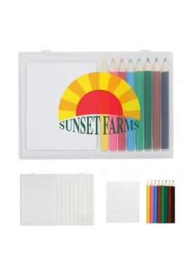 Creative Case of 8 Colored Pencils and Notepad