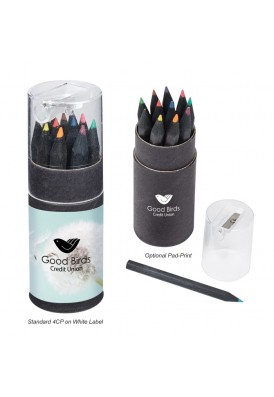Black Barrel Colored Pencils Gift Set with Sharpener