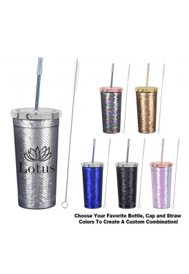 24 Oz. Designer Sequins Tumbler with Metallic Straw