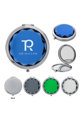 Jeweled Colored Crystal Compact Mirror