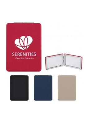 Simple Leatherette Rounded Rectangle Mirror Compact