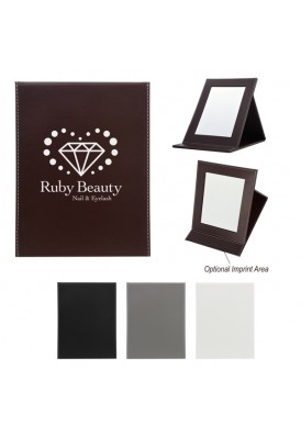 Large Stand-Up Leatherette Classy Travel Mirror Gift