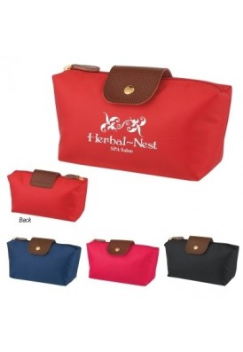 Handy Cosmetics Bag with Leatherette Flap