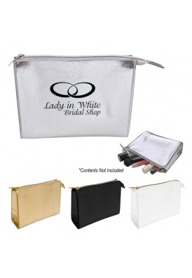 Deluxe Premium Metallic Structured Cosmetics Case